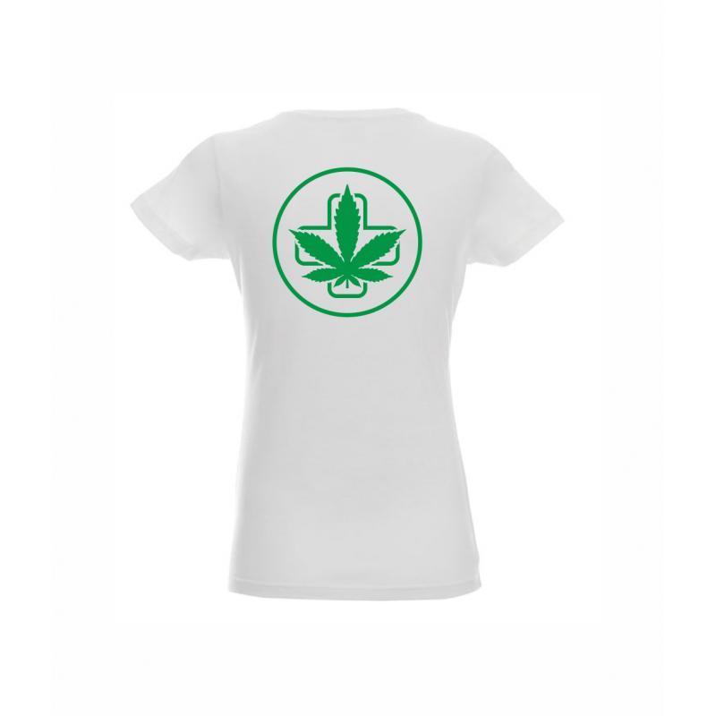 Koszulka Damska Biała Napis Przód Logo Tył Sensi Hemp