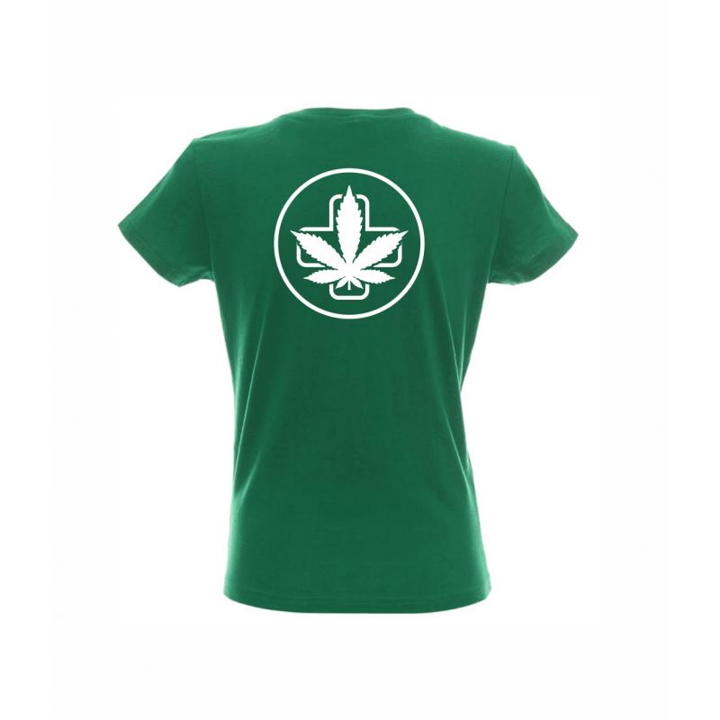 Koszulka Damska Zielona Napis Przód Logo Tył Sensi Hemp