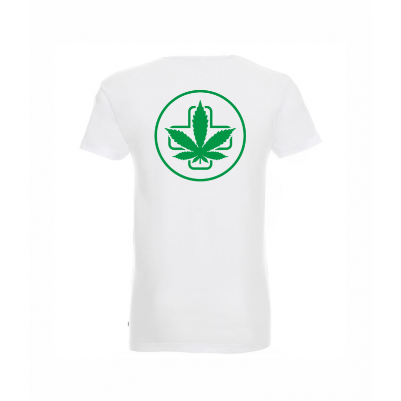 Koszulka Slim Napis Przód Logo Tył Biała Sensi Hemp